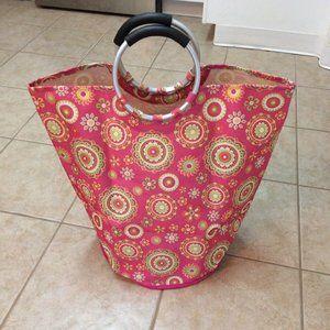 New Paisley cloth Hamper Tote Bag Pink Oval
